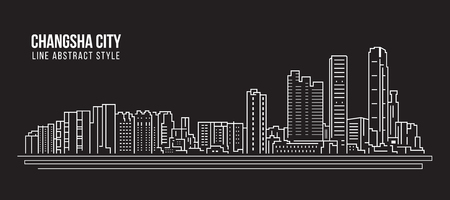 Cityscape Building Line art Vector Illustration design - Changsha city