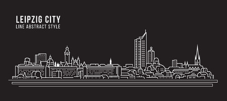 Cityscape Building Line art Vector Illustration design - Leipzig city 일러스트