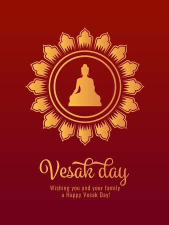 Vesak day banner card with Gold Buddha sign in Lotus circle frame vector design