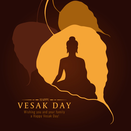 Vesak day banner card with Buddha sign in Bodhi leaf Tree vector design.