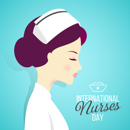 Internationak nurses day banner with woman nurses on blue background