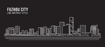 Cityscape Building Line art Vector Illustration design - Fuzhou city Çizim