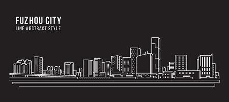 Cityscape Building Line art Vector Illustration design - Fuzhou city Illustration