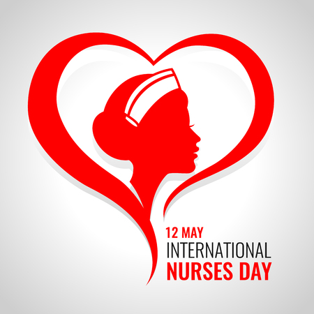 International Nurses day banner with red woman nurses in heart sign vector design. 일러스트