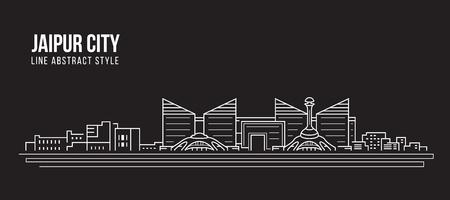 Cityscape Building Line art Vector Illustration design - Jaipur city