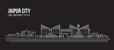 Cityscape Building Line art Vector Illustration design - Jaipur city
