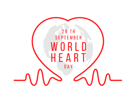 World heart day sign with red line heart waves Çizim