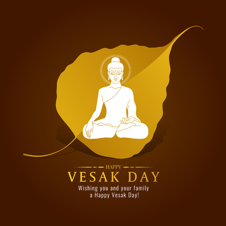 Vesak day banner card with White Buddha sign on gold Bodhi leaf  vector design Çizim