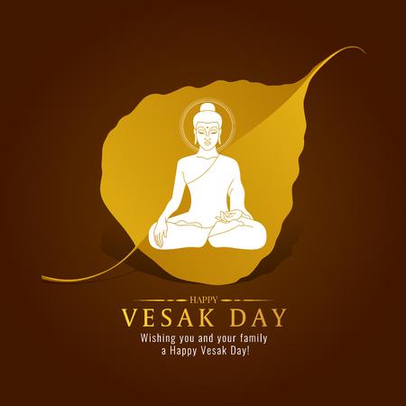Vesak day banner card with White Buddha sign on gold Bodhi leaf  vector design Illustration