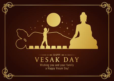 Tarjeta de feliz día de vesak con natividad de Buda de oro, verter, signo de nirvana y diseño de vector de tiempo de luna llena Ilustración de vector