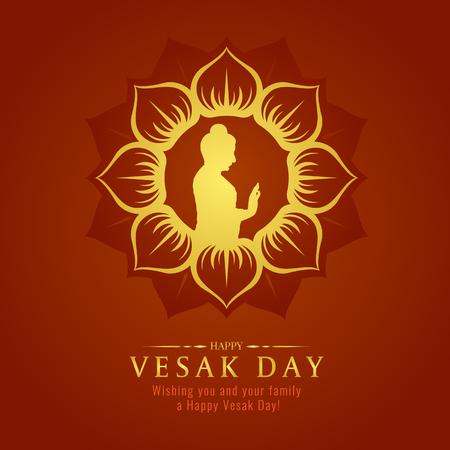 Vesak day banner card with Gold Buddha sign in Lotus petals circle frame vector design