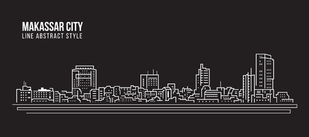 Cityscape Building Line art Vector Illustration design - Makassar city