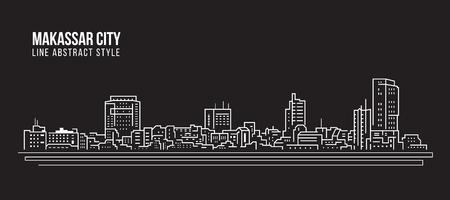 Paisaje urbano Edificio de la Línea de arte de diseño de ilustración vectorial - La ciudad de Makassar