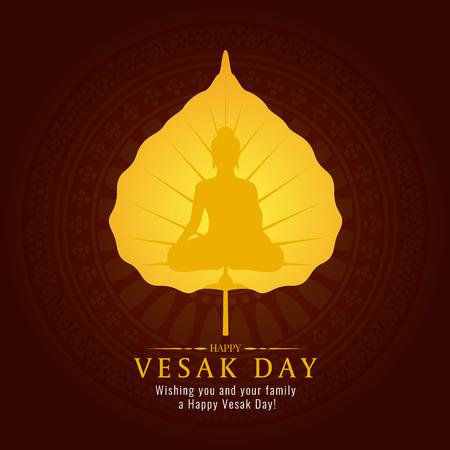 Vesak day banner card with gold Buddha sign on gold Bodhi leaf vector design  イラスト・ベクター素材