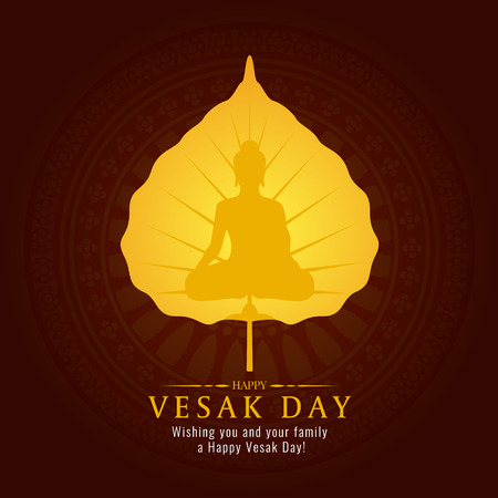 Vesak day banner card with gold Buddha sign on gold Bodhi leaf vector design Vectores