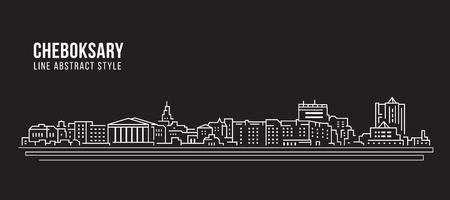 Cityscape Building Line art Vector Illustration design - Cheboksary city
