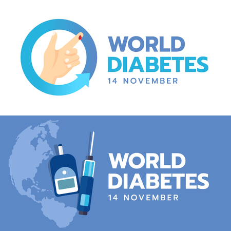 World Diabetes Day banner with hand and Blood drop sign in blue arrow circle and Blood Sugar Test on blue earth world background vector design