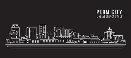 Cityscape Building Line art Vector Illustration design - Perm city Illustration