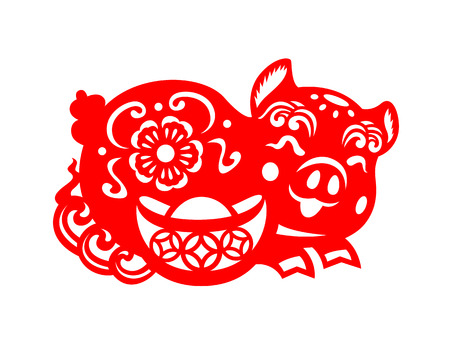 Red paper cut pig zodiac and money sign isolate on white background vector design Ilustracja