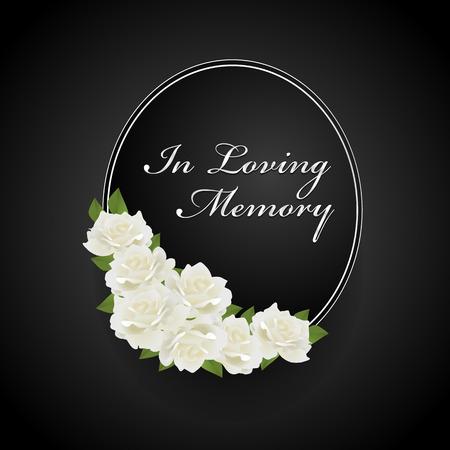 ghirlanda con rosa bianca su cornice ovale e in amorevole disegno vettoriale di testo di memoria Vettoriali