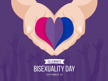 Celebrate Bisexuality Day banner with paper heart Bisexuality color symbol on hand holding vector design