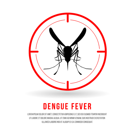 Dengue fever with front mosquitos sign in red circle focus vector design