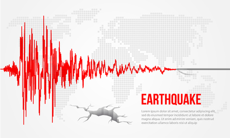 Red earthquake curve and world map background Vector illustration design Ilustração