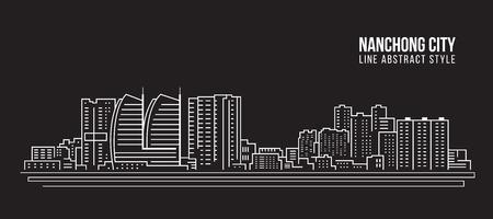 Cityscape Building Line art Vector Illustration design - Nanchong city  イラスト・ベクター素材