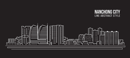 Cityscape Building Line art Vector Illustration design - Nanchong city Çizim