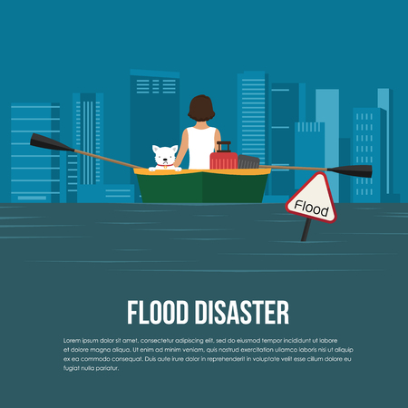 Flood disaster with flood warning banner,woman and dog on boat in flood water vector design Illustration