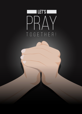 Lets pray together text and Praying Hands on dark background vector design 向量圖像