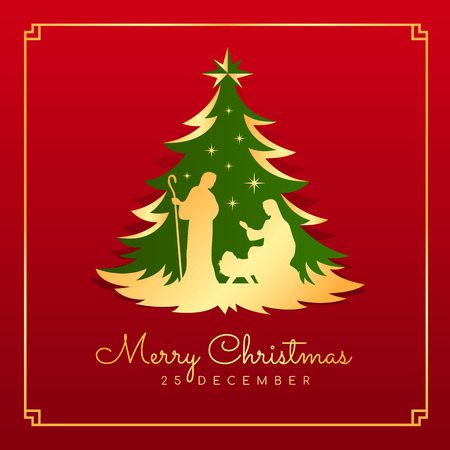 Cartolina di buon Natale banner con scenario di Natale notturno Maria e Giuseppe in una mangiatoia con Gesù bambino in albero di Natale oro verde su sfondo rosso disegno vettoriale Vettoriali
