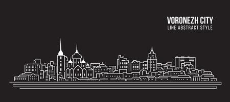 都市景観建築線アート ベクターイラストレーションデザイン - ヴォロネジ市