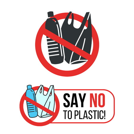 Dire di no al cartello in plastica con bottiglia d'acqua in plastica e sacchetto di plastica nel disegno vettoriale del cerchio rosso di arresto