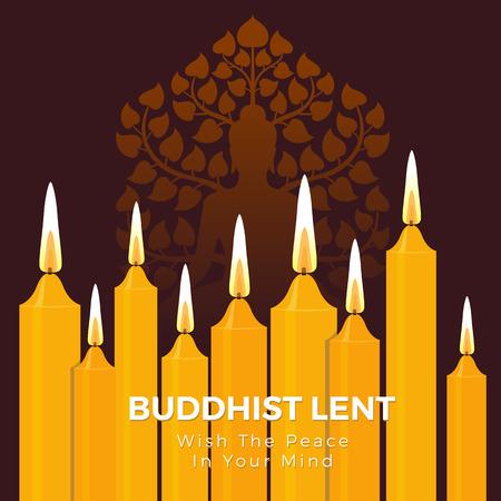 Bouddhiste prêté jour avec la paix dans votre esprit texte sur la lumière de la bougie jaune et fond de vecteur de signe de Bouddha Vecteurs
