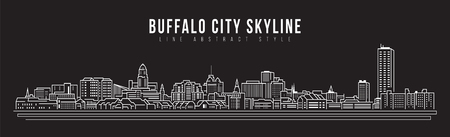 Cityscape Building Line art Vector Illustration design - Buffalo skyline city Illustration