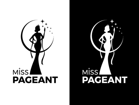 Miss lady pageant logo sign with queen wears evening gown and crown and star vector design