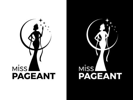 Miss lady pageant logo segno con la regina indossa abito da sera e corona e disegno vettoriale stella