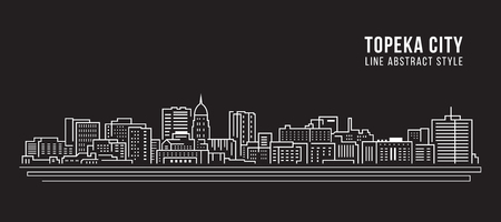Cityscape Building Line art Vector Illustration design - Topeka city