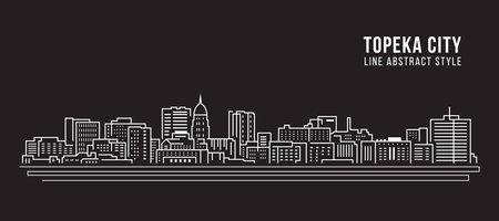 Cityscape Building Line art Vector Illustration design - Topeka city