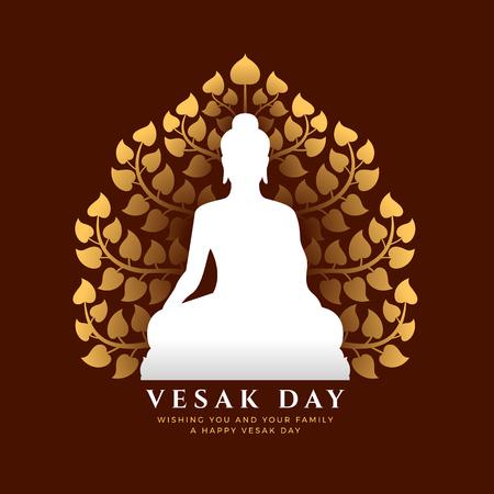 Banner del día de Vesak con letrero de meditación de Buda blanco y diseño de vector de fondo de árbol Bodhi dorado