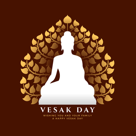 Vesak day banner with white buddha Meditate sign and gold Bodhi tree background vector design Ilustração