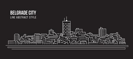 Cityscape Building Line art Vector Illustration design - Belgrade city