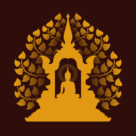 Yellow gold buddha Meditate in the dome and Bodhi tree background vector design Illustration