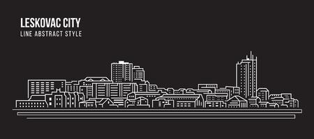 Cityscape Building Line art Vector Illustration design - Leskovac city