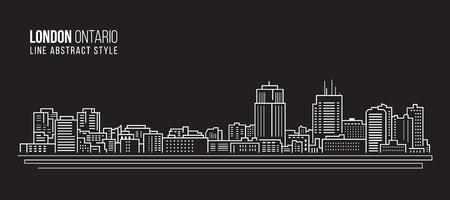 Cityscape Building Line art Vector Illustration design - london city , Ontario canada Vector Illustration