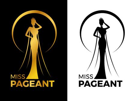 Miss lady pageant logo segno con oro e donna nera indossa corona nel disegno vettoriale di cerchio anello