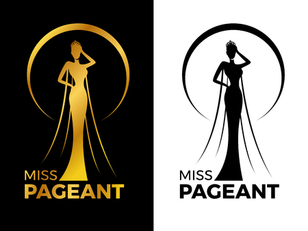 Miss lady pageant logo sign with Gold and black woman wear Crown in circle ring vector design Çizim
