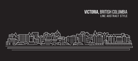 Cityscape Building Line art Vector Illustration design - Victoria city , British Columbia Ilustração