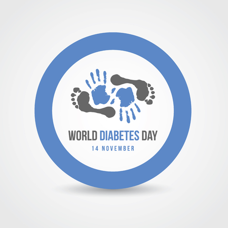 World Diabetes Day Awareness with hand and footprints in blue circle sign vector design